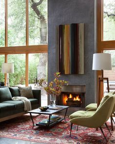 Living Room in Zilker Contemporary by Cravotta Interiors on Salons Cosy, Leather Club Chairs, Wooden Ceilings, Cozy Living Rooms, Sitting Rooms, Upholstered Sofa, Fireplace Design, Modern Fireplace, Affordable Home Decor