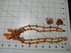 NR Signed MIRIAM HASKELL Orange Poured Glass Rhinestone Flower Necklace Earrings