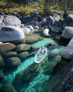 addling through lake tahoe's crystal clear waters covered with big beautiful rocks as seen here🇺🇸. 👉Double tap if you love this! Beautiful Places To Travel, Cool Places To Visit, Vacation Places, Dream Vacations, Vacation Spots, Solo Vacation, Bahamas Vacation, Lake Tahoe Nevada, Tahoe California