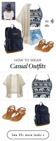 """Casual"" by lauren007 on Polyvore featuring Levi's, Victoria's Secret, JanSport and Topshop"