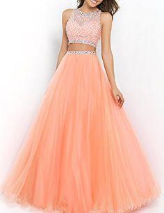 SeasonMall Women's Prom Dress Two Pieces Bateau Beaded Bodice Tulle Dresses Size 14 US Orange