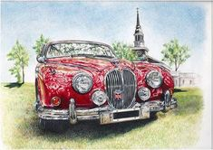 Original Photorealism Pencil Drawings For Sale Advertising History, Jaguar Daimler, Car Illustration, Illustrations, Art Prints Online, Tin Art, Selling Art Online, Car Drawings, Automotive Art