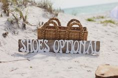 Shoes Optional Sign on Bradenton Beach Wedding Ceremony