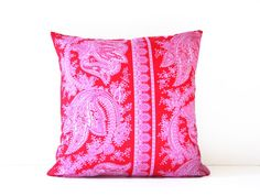 I love pink and red together and you can completely change the look of this one just by turning it around.  Crazy love decorative throw pillow cover / by SassyStitchesbyLori, $38.00.