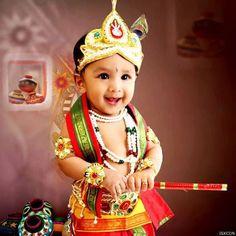 Cute baby in lord krishna ,, getup