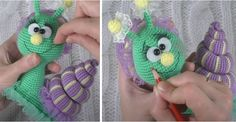 Snail – Free amigurumi pattern in English, Italian and French – Carmen Crochet Crochet Snail, Crochet Amigurumi Free Patterns, Crochet Toys, Crochet Ideas, Lilac Color, Turquoise Color, Black Thread, Yarn Colors, Crochet Necklace