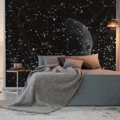 Black And White Constellation Tapestry Galaxy – Top Trend – Decor – Life Style Elegant Home Decor, Elegant Homes, Constellation Tapestry, Blanket On Wall, Beach Blanket, Home Interior, Interior Design, Deco Kids, Tapestry Bedroom