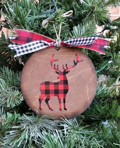 buffalo plaid christmas ornament plaid deer wooden ornament christmas gift custom ornament - Plaid Christmas Ornaments