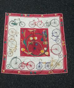 Gucci Silk Scarf with Vintage Bicycle design theme