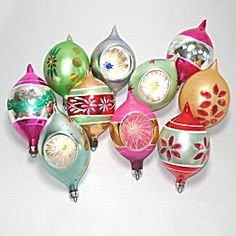10 Poland Blown Glass Teardrop Christmas Ornaments