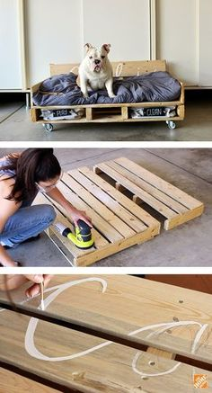 DIY Pallet Dog Bed on Casters You can complete this pallet dog bed DIY project in just a few hours. Diy Dog Bed, Diy Bed, Large Dog Bed Diy, Wood Dog Bed, Diy Sofa, Puppy Beds, Pet Beds, Diy Pallet Projects, Easy Diy Projects