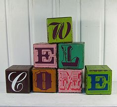 DIY Vintage Block Welcome Blocks Rustic Art, House Entrance, Give It To Me, How To Make, Just Giving, Welcome, My Heart, Cube, Retail Displays