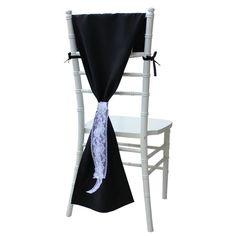 Black Chiavari Chair Hood, Elegant Chiavari Chair Cover for Weddings   Wholesale Black Chair Covers
