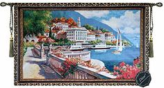 Free Shipping Beautiful Lake Como Italy Fine Tapestry Jacquard Woven Wall Hanging Art Decor *** Read more reviews of the product by visiting the link on the image.