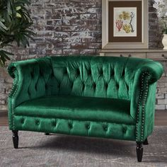 New Century® Emerald Chesterfield Tufted Rolled Arm Velvet Loveseat Sofa Green Velvet Sofa, Green Sofa, Living Room Furniture, Home Furniture, Living Room Decor, Green Furniture, Eclectic Furniture, Retro Furniture, Repurposed Furniture