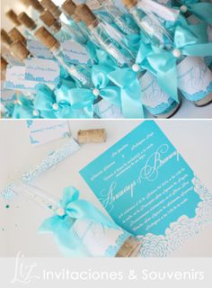 """Message in a Bottle"" Aqua Blue!! :-)   ● invitaciones ● boda ● wedding ● tarjeteria ● handmade ● hecho a mano ● azul ● aqua ● invitations ● cards"