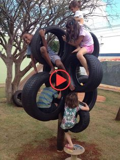 Tyres makes a great climbing pole for the kids inyourbackyard, playground natural playgrounds ideas for kids playground playground ideas concept criativo