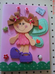 capa de caderno menininha - Pesquisa Google Felt Crafts, Easy Crafts, Crafts For Kids, Paper Crafts, Book Projects, Projects To Try, Cottage Crafts, Mini Craft, Little Boy And Girl