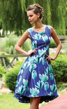d2fe932ccd3a1 Ella Boo style 2285, Blue Floral print Tea length occasion dress available  at Blessings Occasion