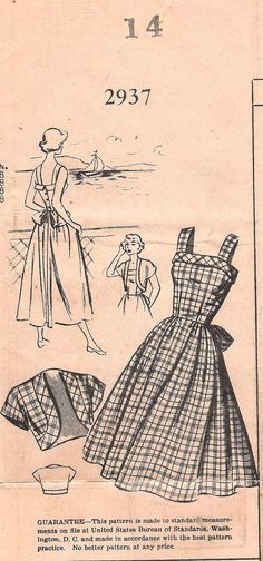 Vintage 1950s Mail Order Sundress with Bolero, Pattern Bureau Sewing Pattern #2937, Offered on Etsy by GrandmaMadeWithLove, $20.00