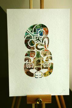 Stamp and stencil art by 11 Post Studio - Hei Tiki