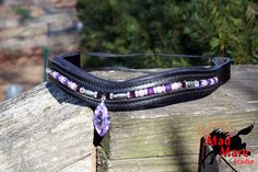 Crystal Drop Browband Purple Beads and Crystals by MadMareStudio, $100.00