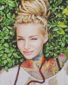 Full color neck tattoo