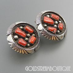 NATIVE AMERICAN KEITH JAMES NAVAJO STERLING SILVER RED CORAL CLUSTER ROUND GRAND POST EARRINGS