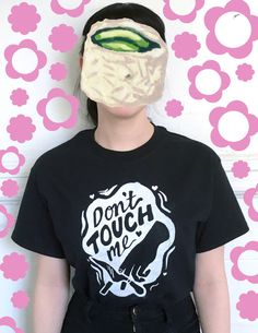 Dont Touch Me Shirt  White on Black Silkscreen by OveritStudio