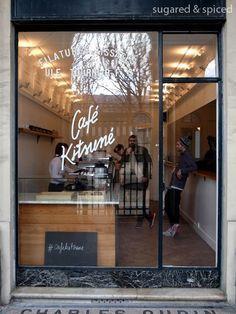 paris café kitsuné coffee shop front--------- perfect window, font too My Coffee Shop, Coffee Shop Design, Coffee Cafe, Cafe Design, Coffee Shops, Paris Coffee Shop, Coffee To Go, Restaurant Bar, Restaurant Design