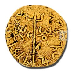 Quarter dinar | Dynasty: Kushan | Ruler / Authority: Vima Kadphises | Denomination: Quarter dinar | Metal: Gold | Weight (gm): c. 2 g | Size (mm): 12-13 mm | Shape: Round | Types/Series: Bilingual type 11 /Oesho Type | Minting Technique: Die struck | Rarity: VR (Very Rare) | Mint: Main mint Bactria. | Theme: King, bull, trident-axe, frame | Pirate Coins, Antique Coins, Coin Collecting, Rarity, Gold Coins, Fountain Pen, Archaeology, Mughal Empire, Stamp