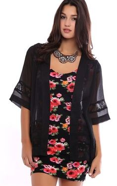 Deb Shops Short Sleeve Kimono with Lace Inset $14.17