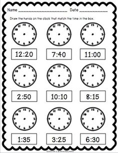 Telling Time Pack {Worksheets, Game & Task Cards} by Kim Solis 3rd Grade Math Worksheets, 1st Grade Math, Preschool Worksheets, Second Grade, Teaching Time, Teaching Math, Learning Activities, Time Activities, Math Lessons