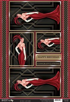 Buzzcraft Art Deco die cut toppers - Lady in Red