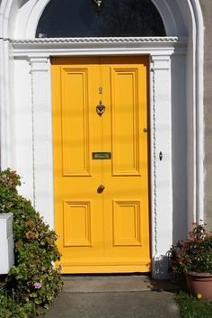 "Most current No Cost Farmhouse Front Door yellow Tips Interior designers often r. Most current No Cost Farmhouse Front Door yellow Tips Interior designers often refer to art as ""t Front Door Entrance, Glass Front Door, Sliding Glass Door, Entry Doors, Porch Doors, Yellow Front Doors, Painted Front Doors, Front Door Colors, Sliding Door Curtains"