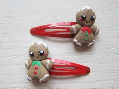 Gingerbread Man Polymer Clay Hair Clip Set by tinytangerines, $14.95