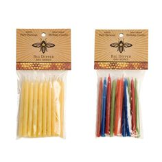 Decorate your child's birthday cake the natural way! These 12 hand-dipped Beeswax Birthday Cake Candles are made of 100% natural beeswax and are dripless and clean-burning. Available in your choice of