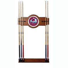 Trademark Commerce NHL6000-CA NHL Colorado Avalanche 2 piece Wood and Mirror Wall Cue Rack