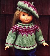 Icelandic Sweater & Tam for dolls pattern by Renee Ann Lagala - Doll Knits - Icelandic Sweater & Tam for dolls pattern by Renee Ann Lagala This pattern is a classic and so much fun to knit! It turns out great with any worsted yarn! Knitting Dolls Clothes, Doll Clothes Patterns, Doll Patterns, Clothing Patterns, Pattern Ideas, Crochet Doll Dress, Knitted Dolls, American Doll Clothes, Girl Doll Clothes
