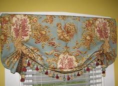 Balloon Valance French Country Waverly Rooster Toile Blue Gold Cheetah Tassels