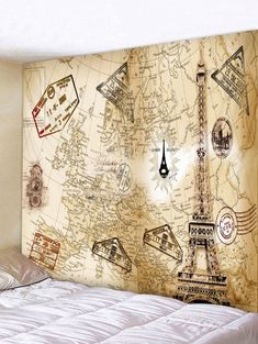 World Map Eiffel Tower Tapestry Wall Hanging Decoration Boys Wall Stickers, Removable Wall Stickers, Wall Decals, Wall Art, Cheap Wall Tapestries, Tapestry Wall Hanging, Tapestry Online, Shape Patterns, Vintage World Maps