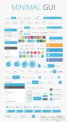 Minimal GUI Set: More Than 1000 Free Elements, Buttons, Patterns, Icons And Many More (Commercial Usage Allowed) Ui Ux Design, Intranet Design, Design Sites, Free Web Design, Dashboard Design, Design Studio, Gui Interface, User Interface Design, Apps