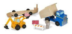 Melissa and Doug Dump Truck and Loader Wooden Play Set, Assorted Dump Trucks, Toy Trucks, Chevy Trucks, Wooden Playset, Wooden Toys, Classic Trucks, Classic Toys, Chevy Classic, Fitness Motivation