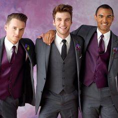 Gray Tuxedos for Men Purple Vest Wedding Suits for Men Men Suits Slim Fit Groom Wedding Suits Groomsmen Suits Jacket+pants+vest+tie from Parisimpression,$108.38 | DHgate.com