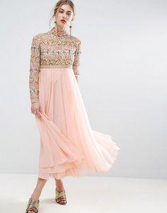 ASOS SALON High Neck Embellished Midi Skater Dress with Long Sleeves