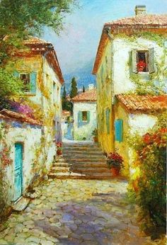 Nikolai Komarov ~ Floral Roofs And Window Ledges Watercolor City, Watercolor Landscape, Watercolor Paintings, Landscape Photos, Landscape Art, Landscape Paintings, Gauguin, Watercolor Architecture, Still Life Drawing
