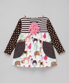 Loving this SILLY MILLY Brown Dog Pocket Tunic - Toddler & Girls on #zulily! #zulilyfinds