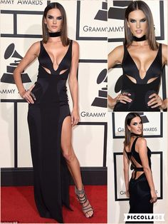 Thigh-high slits were a big Grammys trend, as was black - and Alessandra Ambrosio worked them both to perfection.