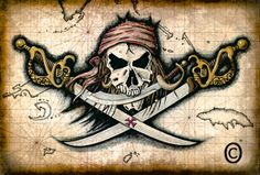 Chompers - Pirate Skull and Swords - Pirate Flag Artwork - Pirates - Jolly Rogers - Pirate Skull - Pirate Prints - Treasure Maps - Skulls Pirate Ship Drawing, Pirate Maps, Pirate Symbols, Golden Age Of Piracy, Pirate Tattoo, Treasure Maps, Pirate Treasure, Large Artwork, Pirate Skull