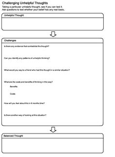 MOODJUICE - Challenging Thoughts Worksheet - Self-help Guide #arttherapy #cheerup #livebetter